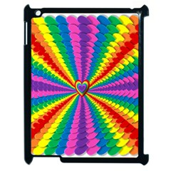 Rainbow Hearts 3d Depth Radiating Apple Ipad 2 Case (black) by Nexatart
