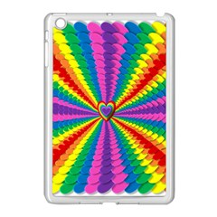 Rainbow Hearts 3d Depth Radiating Apple Ipad Mini Case (white)