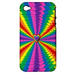 Rainbow Hearts 3d Depth Radiating Apple Iphone 4/4s Hardshell Case (pc+silicone)