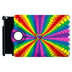 Rainbow Hearts 3d Depth Radiating Apple Ipad 2 Flip 360 Case