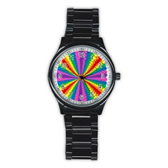 Rainbow Hearts 3d Depth Radiating Stainless Steel Round Watch