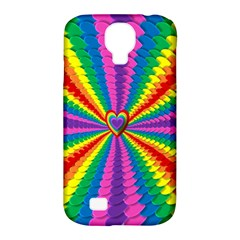 Rainbow Hearts 3d Depth Radiating Samsung Galaxy S4 Classic Hardshell Case (pc+silicone)