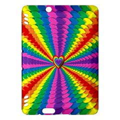 Rainbow Hearts 3d Depth Radiating Kindle Fire Hdx Hardshell Case