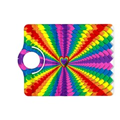 Rainbow Hearts 3d Depth Radiating Kindle Fire Hd (2013) Flip 360 Case by Nexatart