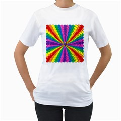 Rainbow Hearts 3d Depth Radiating Women s T Shirt (white)