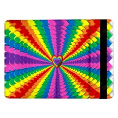 Rainbow Hearts 3d Depth Radiating Samsung Galaxy Tab Pro 12 2  Flip Case