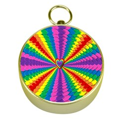 Rainbow Hearts 3d Depth Radiating Gold Compasses