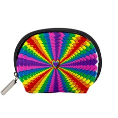 Rainbow Hearts 3d Depth Radiating Accessory Pouches (small)