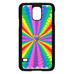 Rainbow Hearts 3d Depth Radiating Samsung Galaxy S5 Case (black)