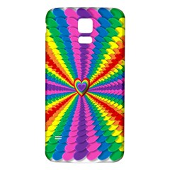 Rainbow Hearts 3d Depth Radiating Samsung Galaxy S5 Back Case (white)