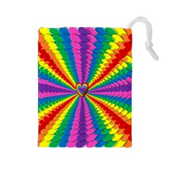 Rainbow Hearts 3d Depth Radiating Drawstring Pouches (large)