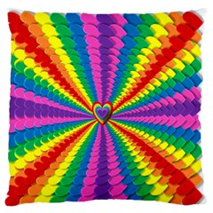 Rainbow Hearts 3d Depth Radiating Large Flano Cushion Case (one Side)