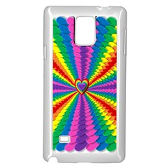 Rainbow Hearts 3d Depth Radiating Samsung Galaxy Note 4 Case (white)