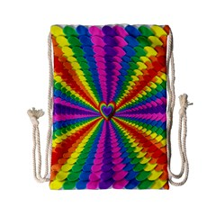 Rainbow Hearts 3d Depth Radiating Drawstring Bag (small)