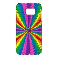 Rainbow Hearts 3d Depth Radiating Samsung Galaxy S7 Edge Hardshell Case