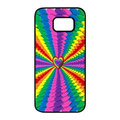 Rainbow Hearts 3d Depth Radiating Samsung Galaxy S7 Edge Black Seamless Case