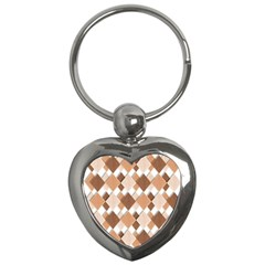 Fabric Texture Geometric Key Chains (heart)