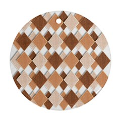 Fabric Texture Geometric Round Ornament (two Sides)