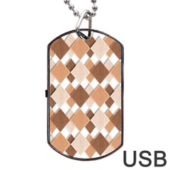 Fabric Texture Geometric Dog Tag Usb Flash (two Sides)