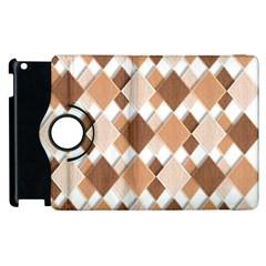 Fabric Texture Geometric Apple Ipad 2 Flip 360 Case