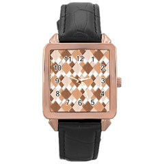 Fabric Texture Geometric Rose Gold Leather Watch