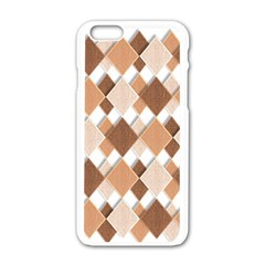 Fabric Texture Geometric Apple Iphone 6/6s White Enamel Case by Nexatart