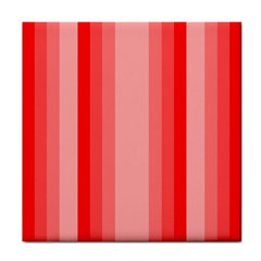 Red Monochrome Vertical Stripes Tile Coasters by Nexatart
