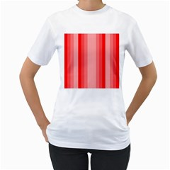 Red Monochrome Vertical Stripes Women s T Shirt (white) (two Sided)