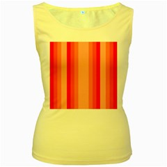 Red Monochrome Vertical Stripes Women s Yellow Tank Top