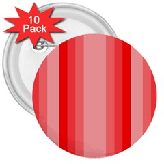 Red Monochrome Vertical Stripes 3  Buttons (10 Pack)