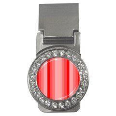 Red Monochrome Vertical Stripes Money Clips (cz)