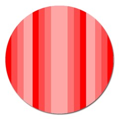 Red Monochrome Vertical Stripes Magnet 5  (round)