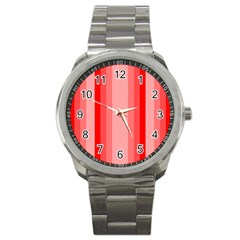 Red Monochrome Vertical Stripes Sport Metal Watch