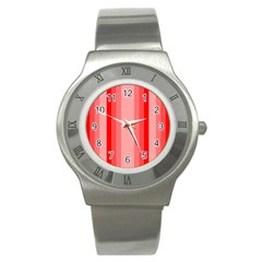 Red Monochrome Vertical Stripes Stainless Steel Watch
