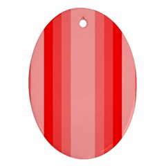 Red Monochrome Vertical Stripes Oval Ornament (two Sides)