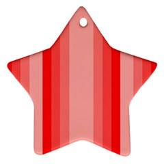 Red Monochrome Vertical Stripes Star Ornament (two Sides)
