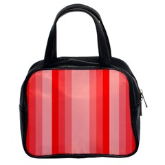 Red Monochrome Vertical Stripes Classic Handbags (2 Sides)