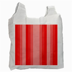 Red Monochrome Vertical Stripes Recycle Bag (two Side)