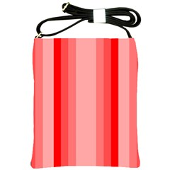 Red Monochrome Vertical Stripes Shoulder Sling Bags by Nexatart