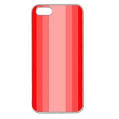 Red Monochrome Vertical Stripes Apple Seamless Iphone 5 Case (clear)