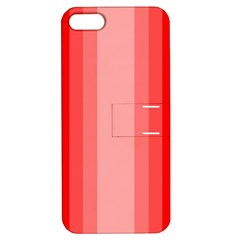 Red Monochrome Vertical Stripes Apple Iphone 5 Hardshell Case With Stand