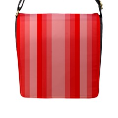 Red Monochrome Vertical Stripes Flap Messenger Bag (l)  by Nexatart