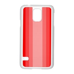 Red Monochrome Vertical Stripes Samsung Galaxy S5 Case (white)