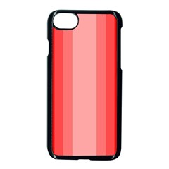 Red Monochrome Vertical Stripes Apple Iphone 7 Seamless Case (black) by Nexatart