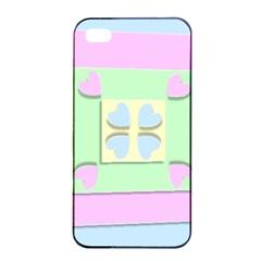 Hearts 3d Decoration Design Love Apple Iphone 4/4s Seamless Case (black)