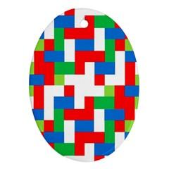 Geometric Maze Chaos Dynamic Oval Ornament (two Sides)