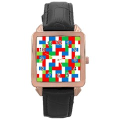 Geometric Maze Chaos Dynamic Rose Gold Leather Watch  by Nexatart