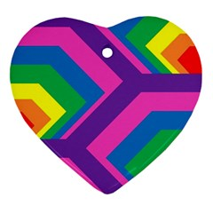 Geometric Rainbow Spectrum Colors Ornament (heart)