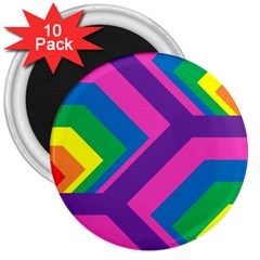 Geometric Rainbow Spectrum Colors 3  Magnets (10 Pack)