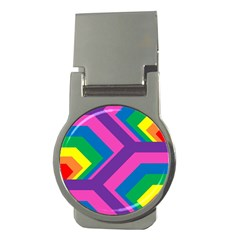 Geometric Rainbow Spectrum Colors Money Clips (round)